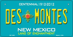 Des Montes Teal New Mexico Wholesale Novelty Metal Bicycle Plate BP-11652