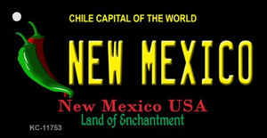 New Mexico Black New Mexico Wholesale Novelty Metal Key Chain KC-11753