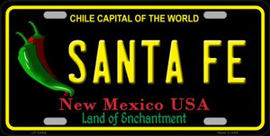 Santa Fe Black New Mexico Wholesale Novelty Metal License Plate LP-12050