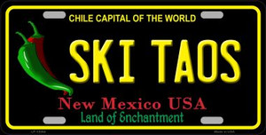 Ski Taos Black New Mexico Wholesale Novelty Metal License Plate LP-12054