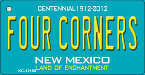 Four Corners Teal New Mexico Wholesale Novelty Metal Key Chain KC-12160