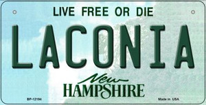 Laconia New Hampshire Wholesale Novelty Metal Bicycle Plate BP-12194