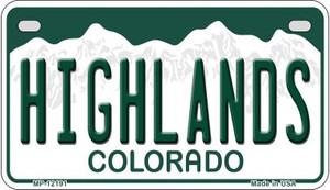 Highlands Colorado Wholesale Novelty Metal Motorcycle Plate MP-12191