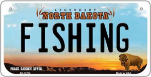 Fishing North Dakota Wholesale Novelty Metal Bicycle Plate BP-10718