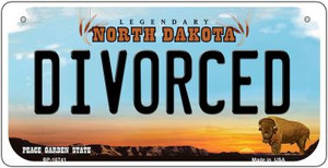 Divorced North Dakota Wholesale Novelty Metal Bicycle Plate BP-10741