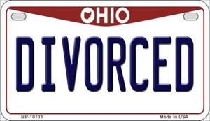 Divorced Ohio Wholesale Novelty Metal Motorcycle Plate MP-10103
