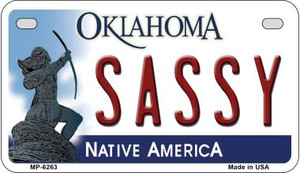 Sassy Oklahoma Wholesale Novelty Metal Motorcycle Plate MP-6263