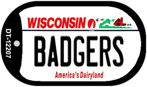 Badgers Wisconsin Wholesale Novelty Metal Dog Tag Necklace DT-12207