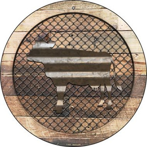 Corrugated Cow on Wood Wholesale Novelty Metal Circular Sign C-1020