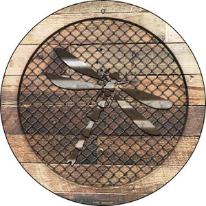Corrugated Dragonfly on Wood Wholesale Novelty Metal Circular Sign C-1032