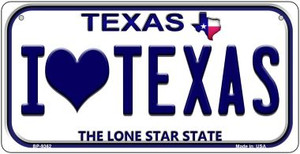 I Love Texas Wholesale Novelty Metal Bicycle Plate BP-9362