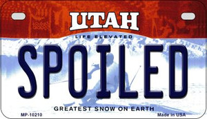 Spoiled Utah Wholesale Novelty Metal Motorcycle Plate MP-10210