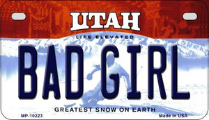Bad Girl Utah Wholesale Novelty Metal Motorcycle Plate MP-10223