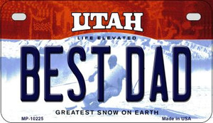 Best Dad Utah Wholesale Novelty Metal Motorcycle Plate MP-10225
