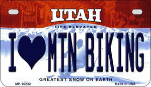 I Love Mtn Biking Utah Wholesale Novelty Metal Motorcycle Plate MP-10232