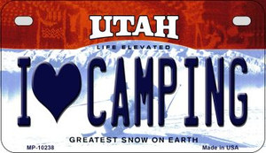 I Love Camping Utah Wholesale Novelty Metal Motorcycle Plate MP-10238