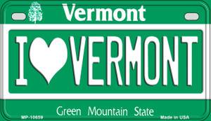 I Love Vermont Wholesale Novelty Metal Motorcycle Plate MP-10659