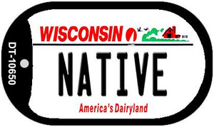 Native Wisconsin Wholesale Novelty Metal Dog Tag Necklace DT-10650
