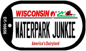 Waterpark Junkie Wisconsin Wholesale Novelty Metal Dog Tag Necklace DT-10656