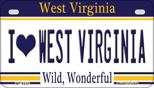 I Love West Virginia Wholesale Novelty Metal Motorcycle Plate MP-6520