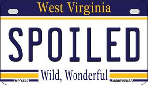 Spoiled West Virginia Wholesale Novelty Metal Motorcycle Plate MP-6530