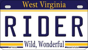 Rider West Virginia Wholesale Novelty Metal Motorcycle Plate MP-6532