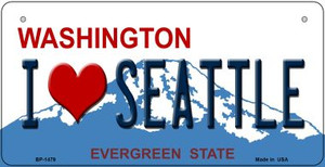 I Love Seattle Washington Wholesale Novelty Metal Bicycle Plate BP-1479