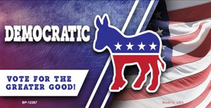Democratic Vote for Greater Good Wholesale Novelty Metal Bicycle Plate BP-12267
