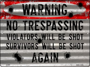 Warning No Trespassing Wholesale Novelty Metal Parking Sign P-2606