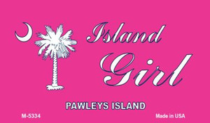 Island Girl Pink Flag Wholesale Novelty Metal Magnet M-5334