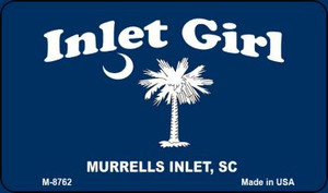 Inlet Girl Blue Flag Wholesale Novelty Metal Magnet M-8762