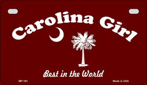 Carolina Girl Burgandy Flag Wholesale Novelty Metal Motorcycle Plate MP-181