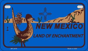 Roadrunner Blue New Mexico Wholesale Novelty Metal Motorcycle Plate MP-2476