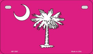 Pink South Carolina Flag Wholesale Novelty Metal Motorcycle Plate MP-7897