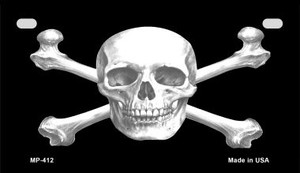 Skull and Crossbones Wholesale Novelty Metal Motorcycle Plate MP-412