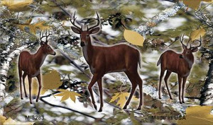 Deer on Camo Wholesale Novelty Metal Magnet M-8283
