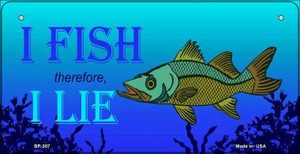I Fish Therefore I Lie Wholesale Novelty Metal Bicycle Plate