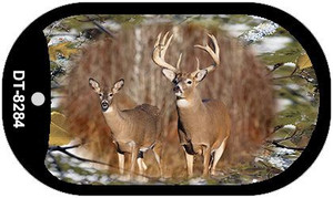 Two Deer on Camo Wholesale Novelty Metal Dog Tag Necklace DT-8284