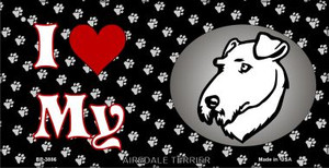 I Love My Airdale Terrier Wholesale Novelty Metal Bicycle Plate BP-3886