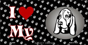 I Love My Basset Hound Wholesale Novelty Metal Bicycle Plate BP-3889