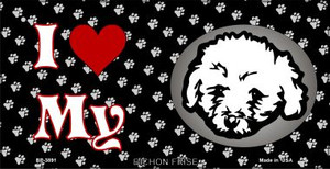 I Love My Bichon Frise Wholesale Novelty Metal Bicycle Plate BP-3891