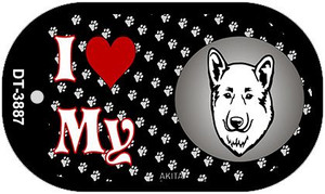 I Love My Akita Wholesale Novelty Metal Dog Tag Necklace DT-3887