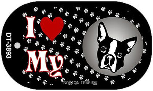 I Love My Boston Terrier Wholesale Novelty Metal Dog Tag Necklace DT-3893