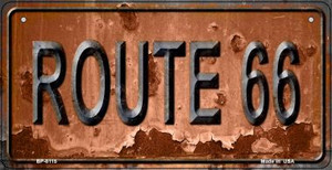 Route 66 Rusty Wholesale Novelty Metal Bicycle Plate BP-8115