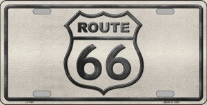 Route 66 Shield White Novelty Wholesale Metal License Plate