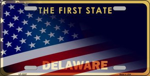 Delaware with American Flag Wholesale Novelty Metal License Plate LP-12337