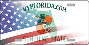 Florida with American Flag Wholesale Novelty Metal License Plate LP-12338