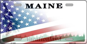 Maine with American Flag Wholesale Novelty Metal License Plate LP-12348