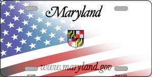 Maryland with American Flag Wholesale Novelty Metal License Plate LP-12349