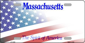 Massachusetts with American Flag Wholesale Novelty Metal License Plate LP-12350